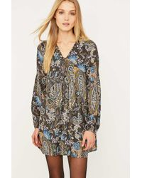 Free People | Black Floral And Paisley Chiffon Dress | Lyst
