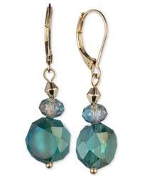Jones New York | Gold-tone Green Faceted Bead Drop Earrings | Lyst