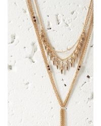 Forever 21 | Metallic Bead Layered Drop Necklace | Lyst