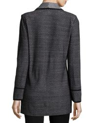 Misook - Black Textured One-button Long Jacket - Lyst