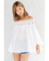 Kimchi Blue | White Crochet Wide-sleeve Blouse | Lyst