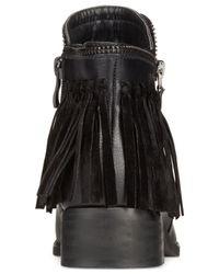 Wanted - Black Abilene Fringe Ankle Booties - Lyst