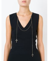 Givenchy | Metallic Double Crucifix Necklace | Lyst