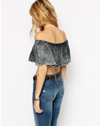 ASOS | Black Festival Top With Off Shoulder In Acid Wash | Lyst
