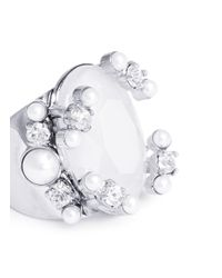 Givenchy | White Faux Pearl Strass Gemstone Ring | Lyst