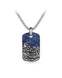 David Yurman - Blue Waves Tag Necklace for Men - Lyst