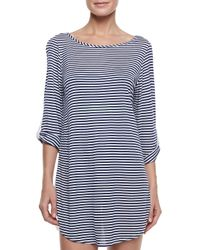 Splendid | Blue Malibu Striped Braceletsleeve Coverup Tunic | Lyst