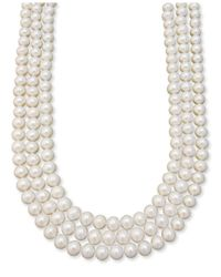 Macy's | White 14k Gold Necklace, Three Row Cultured Freshwater Pearl | Lyst