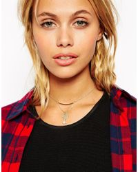 ASOS - Metallic Fine Filigree Drop Choker Necklace - Lyst