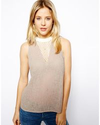 ASOS   Natural Vest With Mesh Panel Insert   Lyst