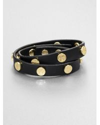 Tory Burch | Black Logo Stud Leather Double-wrap Bracelet | Lyst