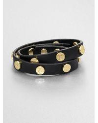 Tory Burch   Black Logo Stud Leather Double-wrap Bracelet   Lyst