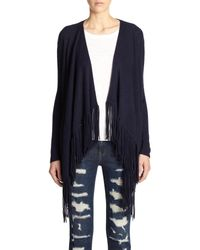 360cashmere | Blue Dominique Cashmere Fringed Draped Cardigan | Lyst