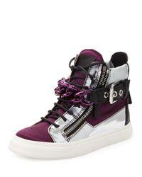 Giuseppe Zanotti   Purple Chain & Zipper Hi-Top Sneaker   Lyst