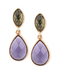 Anne Klein | Goldtone Purple and Green Epoxy Stone Drop Earrings | Lyst