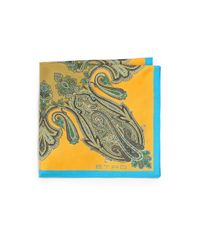 Etro - Blue Silk Paisley Pocket Square for Men - Lyst