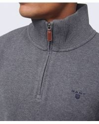 GANT | Gray Sacker Half Zip Rib Knit Jumper for Men | Lyst