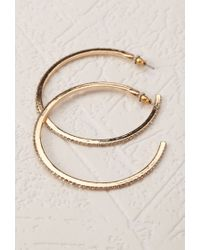 Forever 21 | Metallic Rhinestoned Hoop Earrings | Lyst