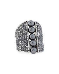 St. John - Gray Signature Pearly & Crystal Cocktail Ring - Lyst
