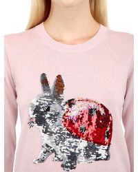 Markus Lupfer - Pink Sequined Bunny Wool Sweater - Lyst