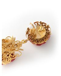 Dolce & Gabbana - Metallic Filigree Rose Clip-On Earrings - Lyst