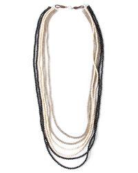 Brunello Cucinelli - Black Tricolour Beaded Necklace - Lyst