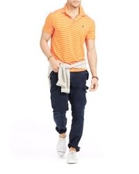 Polo Ralph Lauren | Orange Striped Performance Polo for Men | Lyst