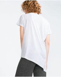 Zara   White Asymmetric Printed T-shirt   Lyst