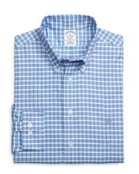Brooks Brothers - Blue Non-iron Regent Fit Slub Check Sport Shirt for Men - Lyst