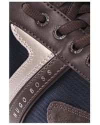 BOSS Green - Brown Sneakers With Leather Trim: 'spacit' for Men - Lyst