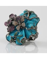 Wendy Yue | Blue Carved Turquoise Flower Ring | Lyst