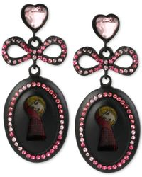 Betsey Johnson - Pink Black-tone Pavé Crystal Bow-and-keyhole Drop Earrings - Lyst