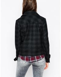 Pepe Jeans - Black Penny Checked Biker Jacket - Lyst
