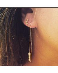 Anne Sisteron | Metallic 14kt Yellow Gold Diamond Bar Threader Earrings | Lyst