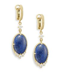 Judith Ripka | Blue Chantilly Sapphire, Diamond & 18k Yellow Gold Teardrop Earrings | Lyst