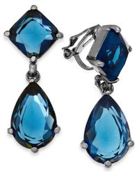 Lauren by Ralph Lauren - Hematite-Tone Blue Stone Double Drop Clip-On Earrings - Lyst