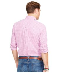 Polo Ralph Lauren - Pink Big & Tall Checked Poplin Shirt for Men - Lyst
