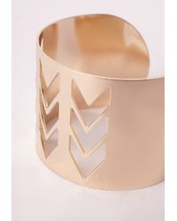 Missguided | Metallic Chevron Cut Out Cuff Gold | Lyst