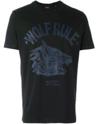DIESEL | Black 'wolf Rule' T-shirt for Men | Lyst