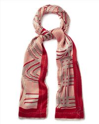 Jaeger - Red Silk Exploded Logo Scarf - Lyst