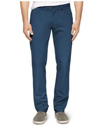 Calvin Klein - Blue Four-Pocket Sateen Bowery Slim-Fit Casual Pants for Men - Lyst