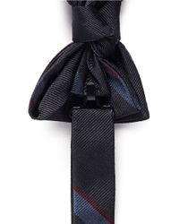 Lanvin - Blue Diagonal Stripe Silk Bowtie for Men - Lyst