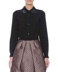 Mantu - Black Embellished Button-front Blouse - Lyst