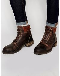 ASOS - Brown Boots In Tan Leather With Warm Lining for Men - Lyst