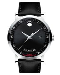 Movado - Metallic 'red Label' Automatic Leather Strap Watch for Men - Lyst