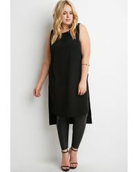 Forever 21 - Black Plus Size Dropped-hem High-slit Tunic You've Been Added To The Waitlist - Lyst