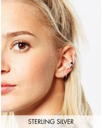 ASOS - Metallic Sterling Silver Spike Ear Cuff - Lyst