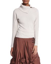Creatures of the Wind - White Split-neck Ribbed Cashmere-blend Sweater - Lyst