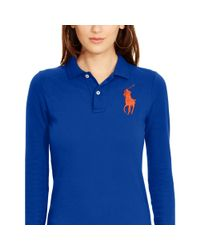 Polo Ralph Lauren | Blue Skinny-fit Big Pony Polo | Lyst
