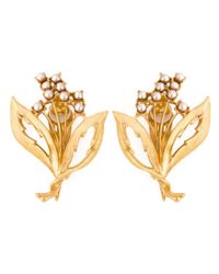 Dolce & Gabbana | Metallic Faux Pearl Embellished Clip-on Earrings | Lyst